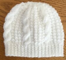 HAND KNITTED CHLDS BOB HAT CABLED ROYAL BLUE 0-3mths3-6mths6-12mths 1-2 /&3-4 yrs