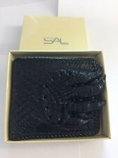 NWT GENUINE CROCODILE ALLIGATOR SKIN & FOOT LEATHER BIFOLD MEN BLACK WALLET
