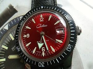 Red Broad Arrow Dial Vintage 1970's Men's Chateau 5 ATM Swiss Date Diver's Watch