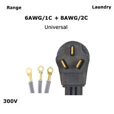 6/3 8/3 Universal 6' 50 Amp 3 Prong Range Cooking Cord 6/1 + 8/2 Heavy Duty