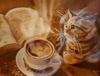 """""""Live is better with books, cats and coffee"""" - Katze - Aquarell Original"""