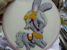 Finished Punch Embroidery Cute Grey Donkey + Frame
