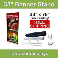 "33"" Retractable Roll Up Banner Stand with Print - BEST BANNER STAND DEAL!"