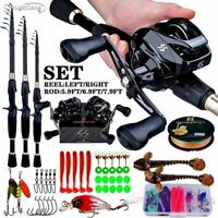 2.4m Telescopic Casting Fishing And Reel + Line Combo Portable Ultralight Pole