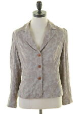 JIGSAW Womens 3 Button Blazer Jacket Size 10 Small Beige Floral Cotton