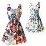 Women Summer Sundress Beach Chiffon Mini Dress Sleeveless OL Floral Pleated Tank