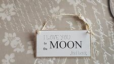 Wooden Door Room Plaque Sign I love you to the moon and back
