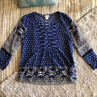 Lucky Brand split neck peasant top size x small womens boho shirt blue XS
