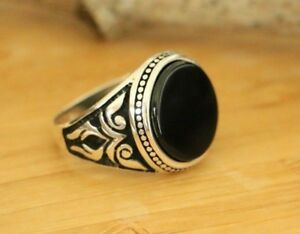 Natural Black Onyx Men's Rings Handmade Turkish 925 Sterling Silver Rings