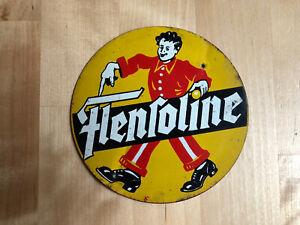 FLENSOLINE * Schuhputz * Original Blechschild * 10cm Durchmesser * RAR