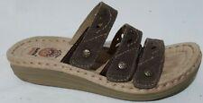 Earth Spirit Gelron 2000 6.5 Slip On Brown Suede 3 Strap Sandals Low Wedge Heel