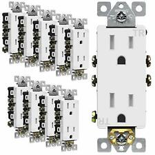 Decorator Receptacle Tamper-Resistant Residential Grade 3-Wire 2 Pole 10 Pack