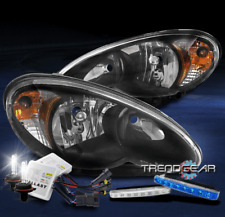 FOR 2006-2010 CHRYSLER PT CRUISER BLACK HEADLIGHT LAMP W/BLUE LED DRL+XENON HID