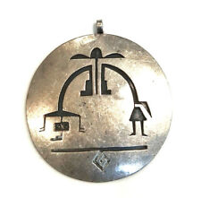 Silver Native American Hopi Indian Figures Round Circle Pendant