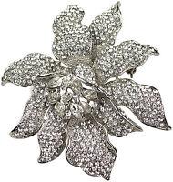 Brosche Kristall Strass Nadel Anstecknadel Metall edel Vintage brooch Kristall