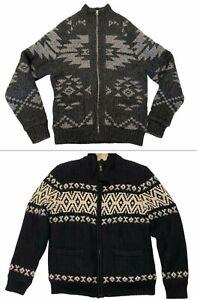 NWT AMERICAN EAGLE Men's Cardigan Sweater Sz M-L-XL Sherpa Full Zip Gray Black
