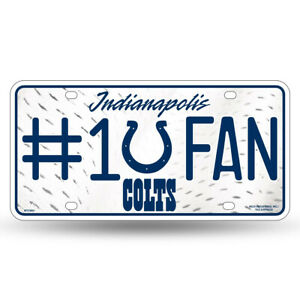 Indianapolis Colts Officially Licensed 6x12 #1 Fan License Plate Sign