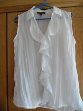 Style & Co White Ruffle Ladies Top, Sleeveless, Dressy, Shirt Sz 10,