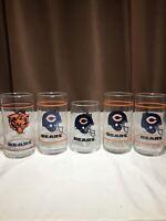 Vintage NFL Chicago Bears Mobil Drinking Glass Tumbler Lot Of 5! See Pics/Desc