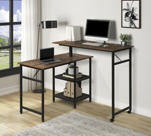 Computer Desk L-Shaped Home Corner  2-Tier Reversible Rotating Standing