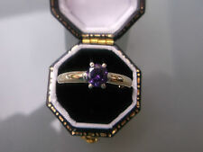 Women's Vintage 9ct Gold Amethyst Solitaire Ring Stamped W2.4g Ring Size O
