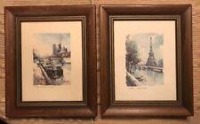 Lucien Delarue Two Paris Watercolor Prints In Vintage Frames #6 and #37 Both EC