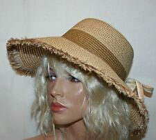 Womens Summer Hat with Flower, Plaited Beach Hat with Wide Brim - Tan/Brown