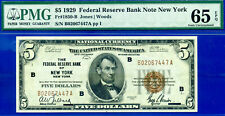 FR-1850-B 1929 $5 National (( FRBN - New York )) PMG Gem 65EPQ # B02067447A.