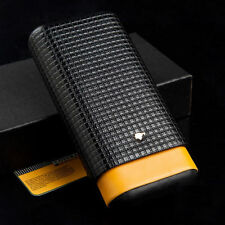 Yellow Black Leather Cedar Wood 3Ct Cigar Cigarettes Case Holder Humidor