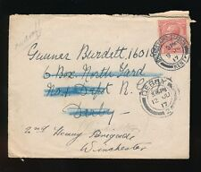 GB 1917 BROADSTAIRS RAILWAY STATION CANCEL to DERBY + REDIRECTED to WINCHESTER
