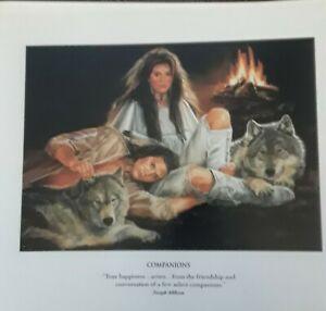 "MAIJA ART PRINT ""COMPANIONS"" Native Americans,Wolves- WESTERN ART,8x7"