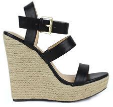 """Black espadrilles 5"""" high heel Wedge Platform mary jane Ankle Strap Sandals  6"""