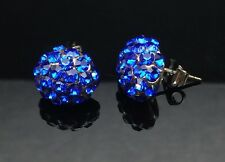 Royal Blue Swarovski Elements Ball Studs Earrings Wedding Silver Large Sapphire