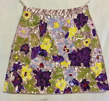 Andrew GN Occasion Multicolor Jacquard Sequins Fully Lined Skirt sz 36
