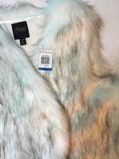 NEW THALIA SODI Womens Fur Vest XL X Large Black White Animal Dress Jacket Coat