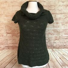 Worthington Womens Military Green Cable Knit Sweater Dress Tunic Cowl Neck Small