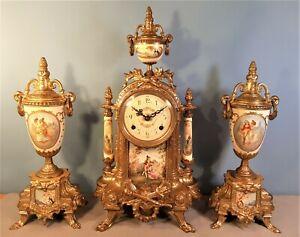 Vintage Striking Mantel Clock Garniture by Franz Hermle, Good working order