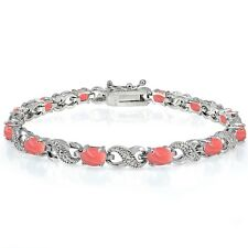 Silvertone Dyed Coral and Diamond Infinity Bracelet