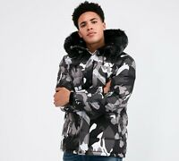 KWD Kings Will Dream Mens New Winter Hooded Puffer Padded Jacket Frost Camo