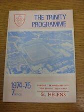 24/11/1974 programma Rugby League: Wakefield Trinity V St. Helens. condizione: W