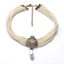 NEW = Anthropolo​​gie Natala Elegant Multi Layered Pearl Strand Choker Necklace