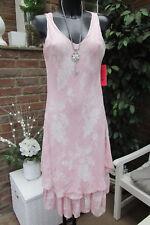 Longueur Genou Robe à Bretelles Style Hippie Rose-Blanc à Volants Ornements