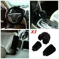 3Pcs Warm Fluffy Soft Plush Flexible Car Steering Wheel / Gear Cover for Winter