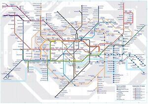 London Underground Tube Map  Poster A0-A1-A2-A3-A4-A5-A6-MAXI 710