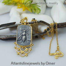 Sterling Silver Bee Coin Necklace Handmade Turkish Jewelry 24 K Gold Plated