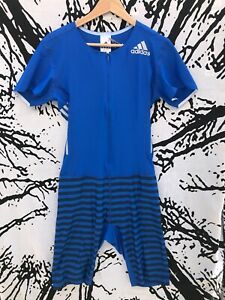 NWT $220 ADIDAS Blue Climalite Skinsuit Singlet Track Field Large Muscle Costume