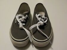 Youth Kids Size 1.5 Vans Off The Wall Authentic Style Grey Canvas Tennis Shoes