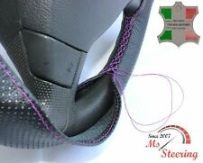 FOR IKCO ARISUN -BLACK PERF LEATHER STEERING WHEEL COVER PURPLE STITCH