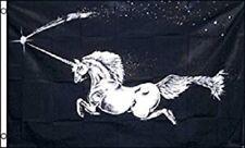 3x5 Unicorn Horse Pegasus Black Mythical Creature Flag 3'x5' Grommets