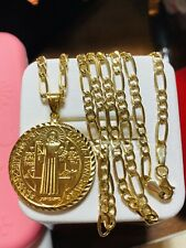 """18K 750 Yellow Real Gold Mens Women's Medallion Necklace 22"""" Long 3.2mm 10.53grm"""